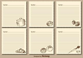 Vintage Recipe Cards Vector Templates