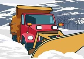 Snow Plough Truck Cleaning Snow