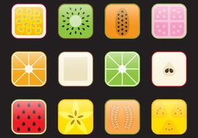 Icônes de fruits d'application