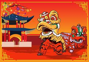 Lion Dance Chinese New Year Design vector