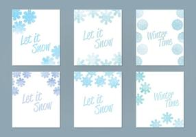 Cartes à flocons de neige d'aquarelle vectorielle