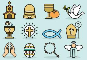 Cute Catholic Icons vector