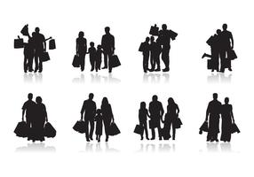 Family Shopping Silhouette Vector
