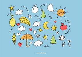 Hand-drawn-cute-sunshine-element-vectors