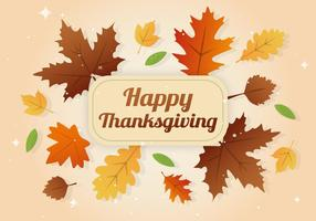 Free Happy Thanksgiving Day Leaves Banner vector