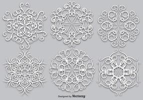 Vector Set Of Elegant White Snowflakes - Vector