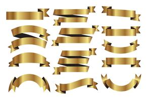 Golden Ribbons Vector Set