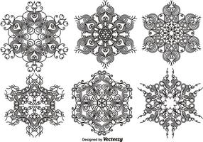 Copos de nieve ornamentales elegantes - conjunto de vectores