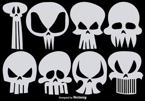 Set med Vector Hand Drawn Skulls