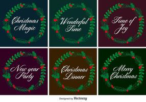 Typographic Christmas Vector Wreaths