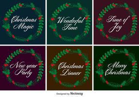 Typografische Weihnachtsvektorkränze