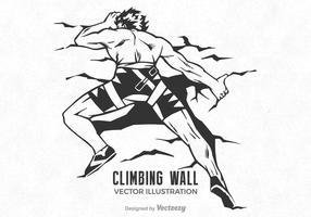 Free Wall Climbing Man Vector Illustration