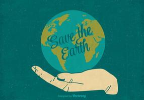 Free Retro Save The Earth Vector Poster