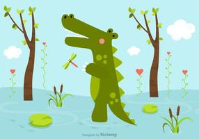 Free Cartoon Crocodile In Swamp Vector