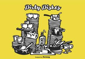 Free Drawn Dirty Dishes Vector Illustration