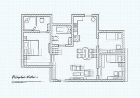 Gratis planlösning av en husvektor