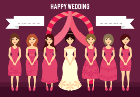 Wedding Bride and Bridesmaids Cartoon Illustration