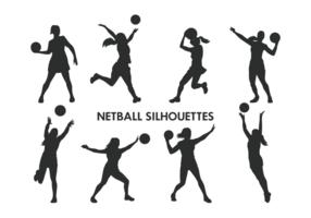 Netball spelare silhuetter vektor
