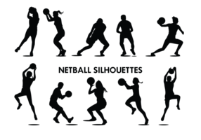 Netball Spieler Silhouetten Vektor