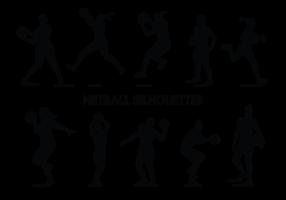 Vecteur de silhouettes de joueur de netball