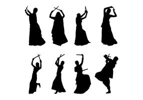 Garba Dancer Silhouettes Vector