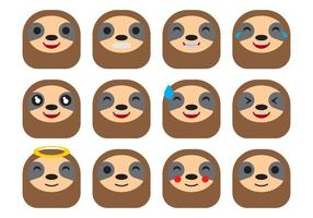 Free Cartoon Sloth Emoticons Vector
