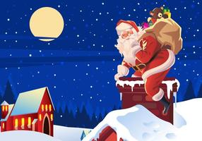 Santa Claus Climbing on the Roof Vector