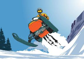 Riding Snowmobile Jumping