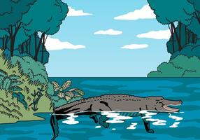 Gator au milieu de la jungle Vector