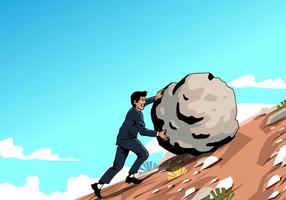 Hombre que empuja el vector de la roca