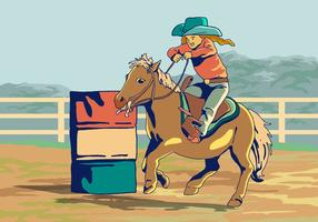 Um vetor Kid In Barrel Racing Competition