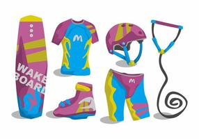 Man Wakeboarding Vector Set