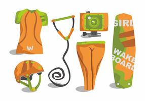 Woman Wakeboarding Vector Set