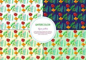 Gratis vektor handdragen akvarellmismönster med blommor och löv