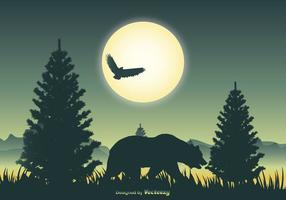 Landscape Scene with Bear Silhouette vector