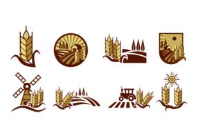 Etiquetas del vector del campo del arroz
