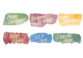 Vector Watercolor Christmas Messages