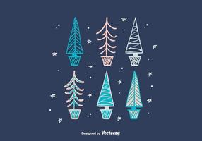 Hand Drawn Winter Trees vector