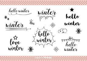 Hand getekende Winter Labels Vector