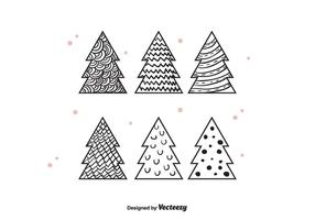 Vettore disegnato a mano degli alberi di Natale