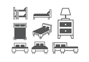 Beds and mattresses vectors