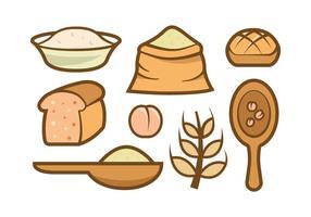 Ícones de vetor de farinha de aveia
