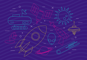 Funky Space Icons vector