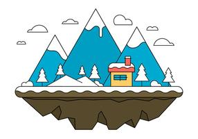 Blue Landscape Island Vector Illustration