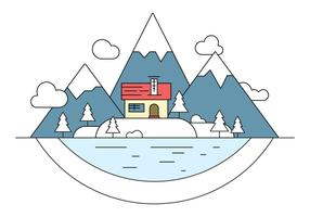 Snowy Landscape Island Vector Illustration