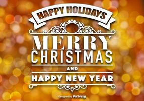 Vector Feliz Natal Laranja Cor Bokeh
