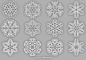 Set Of Vector White Snowflakes