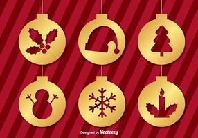 Ícones dourados do ornamento do Natal do vetor