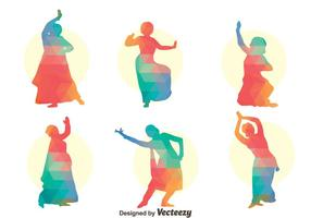 Colorful Bollywood dance Vector Set