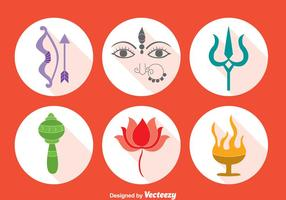 Durga festival element vector set